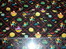 """2003 Alexander Henry collections fabric  """"Senor Kitty"""" cats Mexican sombrero 1yd"""