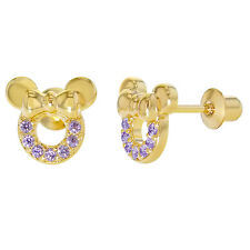 18k Gold Plated Little Mouse Purple CZ Screw Back Baby Earrings 8mm