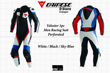 NEW - DAINESE VELOSTER PERFORATED 1-PC MEN SUIT WHITE BLACK SKYBLUE EU 60 US 50