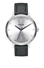 **BRAND NEW** NIXON WATCH THE KENSINGTON LEATHER SILVER / BLACK / BLUE A1082184