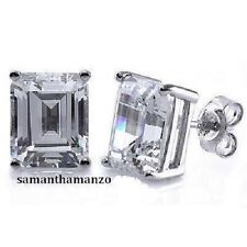 Emerald Fancy Step Cut Signity Cz Cubic Zirconia Stud Earrings