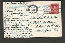 1926 post card Court House Denver Citizens Military Training Camps slogan cancel