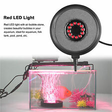 Red 12 LED Aquarium Light Round Fish Tank Air Stone Bubble Lamps for Garden Pool