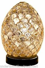 NEW Fabulous Mini Mosaic Glass Crackle Gold Shell Egg Table Lamp ,Desk ,Bedside