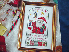 CUTE SANTA PICTURE 'CHRISTMAS IS A SEASON OF THE HEART' CROSS STITCH CHART