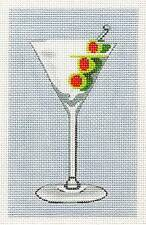 LEIGH Design Martini with Olives Glass handpainted Needlepoint Canvas from LEE