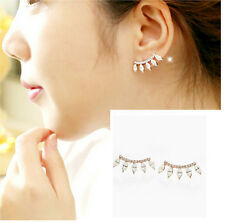 Hot Selling Korean Style Eyelashes Style Rhinestone Alloy Gold Earring Ear Stud
