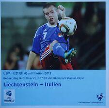 Programm U21 LS 6.10.2011 Liechtenstein - Italien Italy