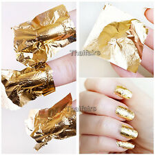 100 pcs x 24K PURE GOLD LEAF , FOIL FOR NAIL ART GLIDING 1.18 x 1.18 or 3x3cm.