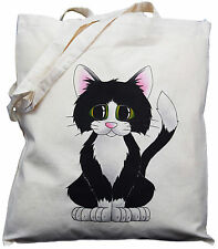 Cute Black & White Cat  Gift  Natural Cotton Shoulder Bag 100% Cotton, Tote Bag