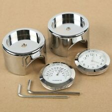 "7/8"" 1"" Handlebar Chrome Dial Clock Temp Thermometer For Harley Crusier Chopper"