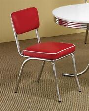 (4) RED AND WHITE VINYL UPHOLSTERED RETRO STYLED CHROME PLATED DINING CHAIR