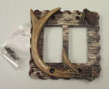 Western antler and pine cone w/ wood look double rocker switch plate rustic barn