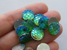 BULK 100 Mermaid scale green cabochon seal resin
