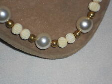 """Faux Large Pearl & white plastic beads 17"""" necklace- gold colored accent beads"""