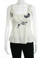 PRADA Beige Blue Embroidered Sleeveless Linen Top Sz IT 40