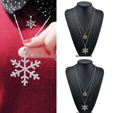 Chic Women Crystal Snowflake Pendant Chain Christmas Necklace Xmas Jewelry Gift