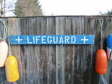 "48 INCH WOOD HAND PAINTED ""LIFEGUARD"" SIGN NAUTICAL SEAFOOD (#S287)"
