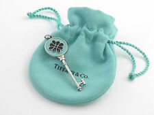 Tiffany & Co Silver Blue Enamel Knot Key Pendant Charm 4 Necklace / Bracelet