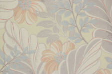 1940's Vintage Wallpaper Orange Flowers White Leaves on Yellow