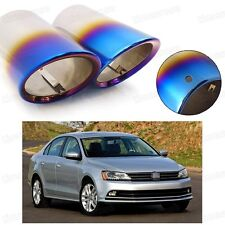 2x Car Exhaust Muffler Tip Tail Pipe End Trim Blue for VW Jetta 2011-2017 #2039