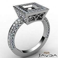 Princess 1.48Ct Semi Mount Halo Bezel Diamond Engagement Filigree Ring Platinum