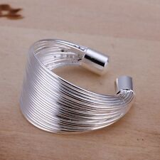 1 pic New Women Men Silver Plated Wide Circle Band Ring Jewelry US