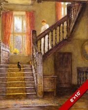 WOMAN COMING DOWN STAIRS WITH CAT ON STEPS PAINTING FELINE ART REAL CANVAS PRINT