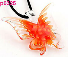 handwork Lifelike Butterfly art lampwork glass beaded pendant necklace p326