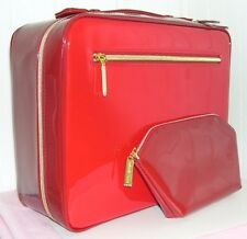 NIB Estee Lauder Red Faux Patent Train Cosmetic Makeup Case + Matching Bag Nice