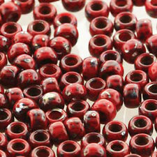 Matubo Czech Glass Seed Beads 7/0 3.5mm 50 Gr 1.5mm Hole Coral Rd Picasso Op