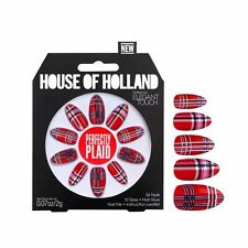HOUSE OF HOLLAND - FALSE NAILS - PERFECTLY PLAID - 24 NAILS IN 10 SIZES - NEW