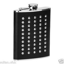Hip Flask Stainless Steel Studded Black Leather Effect 8oz