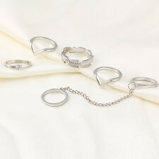 Gold/Silver 6pc /Set Leaf Knuckle Midi Mid Finger Tip Stacking Chain Rings New