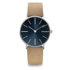 """Lambretta """"Cesare Blue Suede"""" Cuarzo Acero Inox Azul Piel Beige Hombre Reloj"""
