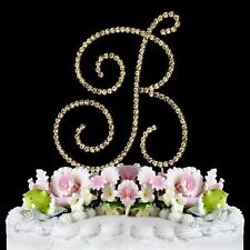 Monogram Cake Toppers Gold Large Crystal Cake Initial A to Z Any Letter