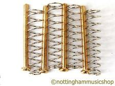4 gold humbucker pickup screws and springs for mounting pickups to guitar