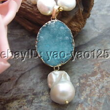 H071706 21'' White Baroque Pearl Turquoise Necklace Druzy Agate Keshi Pearl Pend