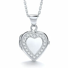"J-Jaz Sterling silver Rhodium plated Cubic Zirconia Heart Locket on 18"" chain"