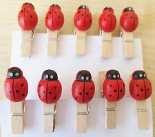10Pcs Mini Wooden Pegs with Ladybirds, Photo Clips, Wedding Decor, Craft 35mm.