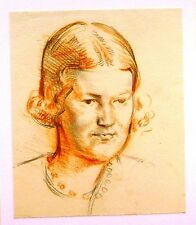 SMALL PORTRAITS MATURE LADY WITH PEARLS  PATRICK PHILLIPS ARWS RP PENCIL C1930