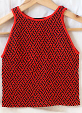 Bebe Red Black Textured Crop Top Blouse Shirt Tight Stretchy Bodycon Small S