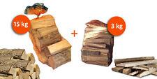 Sacco 15kg Legna da Ardere + Sacco 3kg Legnetti Accendifuoco per Camino Stufa