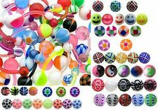 50 x Flexible Navel Belly Bars, great designs and colours - Acrylic