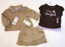 NWT Gymboree Cowgirls at Heart 6-12 Months Tan Faux Suede Jacket Skirt & Tee