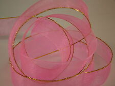 20 MM ORGANZA RIBBON WITH ONE GOLD SIDE HIGH QUALITY 3 COLORS 1,2 & 5 Meter