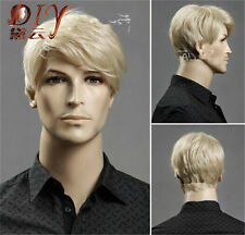 Men's Blonde Male New Short Wavy Wig Heat Resistant Halloween Cosplay Full Hair