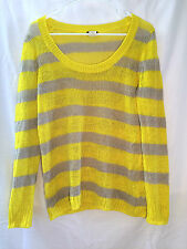 J.Crew size small 100% linen yellow gray knitted striped sweater women's ladies