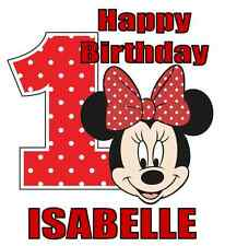 "Minnie Mouse 1st Birthday Iron On Transfer w/ Name, 5""x5.5"", for LIGHT Fabrics"