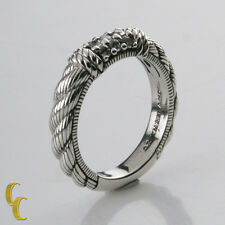 Judith Ripka Sterling Silver .925 Textured Band Ring Size 8 w/Cubic Zirconias